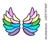 wings icon. line art. white... | Shutterstock .eps vector #1305747469