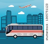 public bus city daylight | Shutterstock .eps vector #1305751123