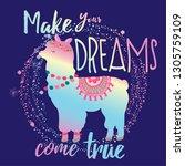 cute llama print. t shirt... | Shutterstock .eps vector #1305759109