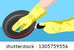 housewife's hands in rubber... | Shutterstock .eps vector #1305759556