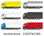 set of heavy trucks  vector... | Shutterstock .eps vector #1305761200
