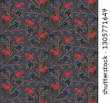 seamless pattern with birds in... | Shutterstock .eps vector #1305771649