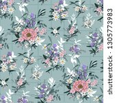 trendy bright floral pattern in ... | Shutterstock .eps vector #1305773983