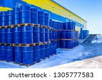 Blue Containers Are Palletized...