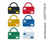 padlock shaped credit card ... | Shutterstock .eps vector #1305779479