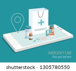 paper bag with medical... | Shutterstock .eps vector #1305780550