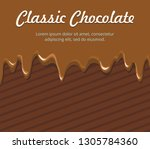 dripping melted chocolate  on... | Shutterstock .eps vector #1305784360