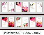 abstract geometric and floral... | Shutterstock .eps vector #1305785089