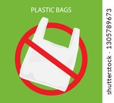 say no to plastic bags poster.... | Shutterstock .eps vector #1305789673