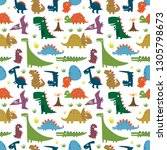 seamless pattern with funny... | Shutterstock .eps vector #1305798673
