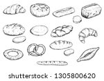 set of hand drawn sketch bakery ... | Shutterstock .eps vector #1305800620