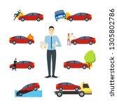 cartoon car insurance signs... | Shutterstock . vector #1305802786