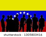 crowd with flag of venezuela on ... | Shutterstock . vector #1305803416