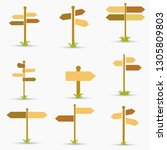 road signs icons set. flat... | Shutterstock .eps vector #1305809803