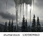 image of some icicles and trees ... | Shutterstock . vector #1305809863