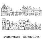 vintage stone europe houses....   Shutterstock .eps vector #1305828646