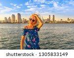 Happy Tourist Woman Enjoying A...