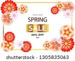 spring sale flyer with orange... | Shutterstock .eps vector #1305835063
