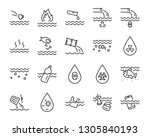 set of water pollution icons ... | Shutterstock .eps vector #1305840193