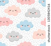 cloud cute colorful smiling... | Shutterstock .eps vector #1305842416