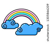 cloud   rainbow icon. line art. ... | Shutterstock .eps vector #1305866209