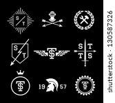 labels with helmet  shield ...   Shutterstock .eps vector #130587326