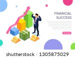 financial success concept with... | Shutterstock . vector #1305875029