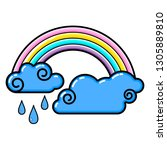 cloud  rainbow  rain icon. line ... | Shutterstock .eps vector #1305889810