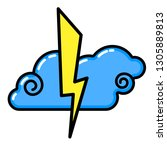 cloud  lightning icon. line art.... | Shutterstock .eps vector #1305889813