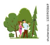 happy couple are take selfie.... | Shutterstock .eps vector #1305905869