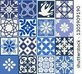 blue portuguese tiles pattern   ... | Shutterstock .eps vector #1305909190