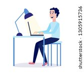 young man reading online... | Shutterstock .eps vector #1305915736