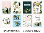 vector set of bright summer... | Shutterstock .eps vector #1305915829