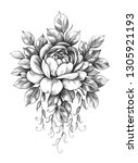 hand drawn floral composition... | Shutterstock . vector #1305921193
