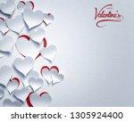 paper hearts   happy valentine... | Shutterstock . vector #1305924400