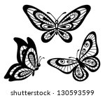 Stock vector set of beautiful black and white guipure lace butterflies many similarities to the author s profile 130593599