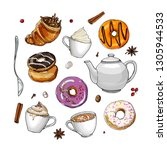 coffee cup line drawing on a... | Shutterstock .eps vector #1305944533