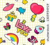 love seamless vector pattern | Shutterstock .eps vector #1305954919