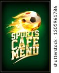 sports cafe menu card with... | Shutterstock . vector #1305961786