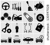 car part set of repair icon...