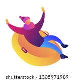 man enjoys riding snow rubber... | Shutterstock .eps vector #1305971989