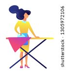 busy woman ironing clothes on... | Shutterstock .eps vector #1305972106