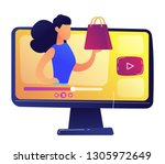 fashion blogger showing a new... | Shutterstock .eps vector #1305972649
