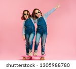 stylish cute girls with... | Shutterstock . vector #1305988780