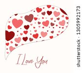 greeting card for valentine's... | Shutterstock .eps vector #1305992173