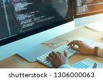 asian man working code program... | Shutterstock . vector #1306000063