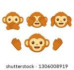 cute cartoon monkey face emoji... | Shutterstock .eps vector #1306008919