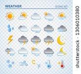 weather icons set. cartoon... | Shutterstock .eps vector #1306010380