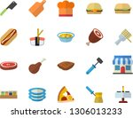 color flat icon set cook hat... | Shutterstock .eps vector #1306013233