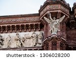 detail of the sculptures of the ... | Shutterstock . vector #1306028200